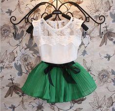 Conjuntos de vestuário para menina novos 2015, Conjunto Vestido + Short Camiseta, 2 peças, Vestuário infantil tricotado, roupas de meninas moda de roupas infantis para verão