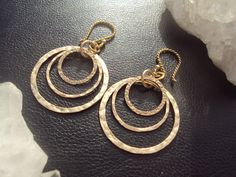 Hammered Gold Filled Hoop Earrings Textured by amandalynneLUXE, $69.99