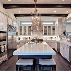 Modern Kitchen Interior Remodeling Dream kitchen by would you add beams in your kitchen? Home Decor Kitchen, Home Kitchens, Kitchen Ideas, Kitchen Layout, Dream Kitchens, Backyard Kitchen, Kitchen Designs, Luxury Kitchens, Backyard Patio