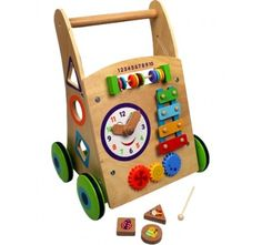Beautiful Beginnings Deluxe Wooden Baby Walker. Quality deluxe wooden toy designed to help children with their walking skills Includes lots of fun activities to teach and inspire! Clock with movable...
