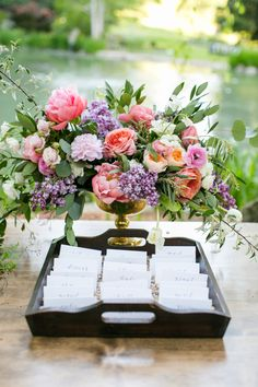 Escort Cards in Tray | photography by http://www.annamarksphotography.com