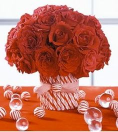 Roses & Candy Canes make the perfect Christmas centerpiece!