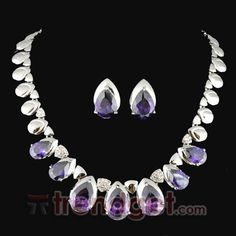 Elegant Alloy with Purple Rhinestone Wedding Jewelry Sets -(Including Necklace and Earring) - $57.99 - Trendget.com