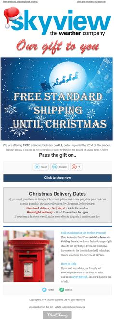 Skyview eNews Decemeber 2014: Our gift to you …. FREE standard shipping until Christmas