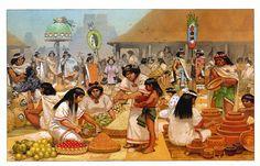 The GREAT Market place of Tlatelolco in Mexico-Tenochtitlan. Aztec Empire, Inca Empire, Aztec Culture, Inka, Aztec Warrior, Western Caribbean, Aztec Art, Mesoamerican, Mexican Art