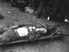 Thomas Conlon, Infantry Regiment, lies on a stretcher at a medical aid station on September He was wounded while crossing the Naktong River in Korea. War Image, Mystery Of History, Historical Images, Korean War, American Soldiers, Back In Time, Present Day, Vintage Pictures, Troops
