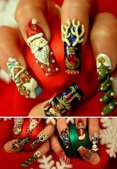 We have been bringing Best, Cute & Amazing Christmas Nail Art Designs, Ideas & Pictures 2013 …. Fantastic cool and amazing winter 20013 Nail Art Design Trend and Ideas. 3d Nail Art, Nail Art Noel, Crazy Nail Art, Finger Nail Art, Crazy Nails, Cool Nail Art, Funky Nails, Holiday Nail Colors, Holiday Nail Art