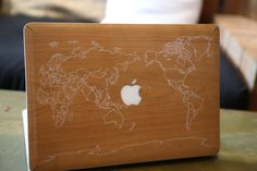 Wood Macbook Case World Map
