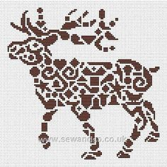 Tribal Reindeer Chart - Sew and So