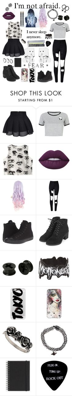 """Untitled #72"" by idontcare99 ❤ liked on Polyvore featuring WithChic, Chicnova Fashion, Lime Crime, Converse, Topshop, Casetify, Muji and DesignSix"