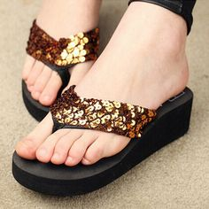Sandalias Mujer Women Sequins Sandals Beach Slippers Shoes Summer Sandals Flip Flops Lady Wedges Shoes Woman sapatos RD670951 //Price: $8.99 & FREE Shipping //     #hashtag3