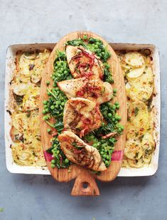 Golden Chicken, braised greens and potato gratin - Jamie Oliver 15 Min Meals Jamie's 15 Minute Meals, 15 Min Meals, Jamie Oliver 15 Minute Meals, Jamie Oliver Chicken, Jaime Oliver, Braised Greens, Golden Chicken, Rosemary Chicken, Healthy Recipes