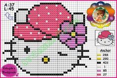 Hello Kitty perler bead pattern by Carina Cassol -