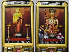 "Called the Odin 99, or ""Buddha phone"". It provides an altar-away-from-altar for serious Buddhists. The phone features a lotus-leaf button that will load the phone's customizable, animated Buddhist altar. This is serious religious stuff, just digital. You can burn digital incense, put down offerings or play some soothing music.    It also includes an engraved metal charm and a second battery."
