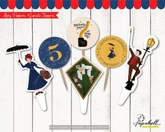 Mary Poppins Cupcake Toppers Printable. Mary Poppins party. Mary  Poppins Circles. Mary poppins illustration Cupcake Toppers. DIGITAL PDF