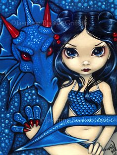 """""""Blue Dragon"""" by Jasmine Becket-Griffith, 8X10 print, signed on front"""