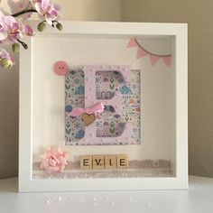 Baby Girl Gift / Little Girl Nursery Princess Personalised Monogram Box Frame wa - Name Baby Girl - Ideas of Name Baby Girl - Baby Girl Gift / Little Girl Nursery Princess Personalised Monogram Box Frame wall decoration pink with scrabble tiles Scrabble Crafts, Scrabble Art, Scrabble Tiles, Box Frame Art, Box Frames, Baby Girl Gifts, New Baby Gifts, Baby Girls, Little Girl Gifts