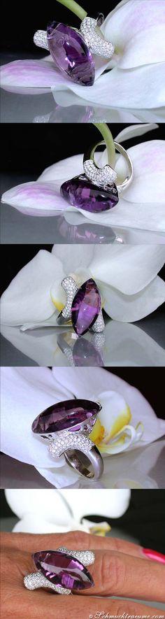 Huge Amethyst Diamond Ring, 20.52 ct. WG18K - Visit: schmucktraeume.com Like: https://www.facebook.com/pages/Noble-Juwelen/150871984924926 Mail: info@schmucktraeume.com