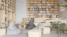 Gelato on Behance Cafe Interior Design, Interior Architecture, Green Bookshelves, Relax, Workspace Inspiration, Co Working, Library Design, White Tiles, Office Interiors