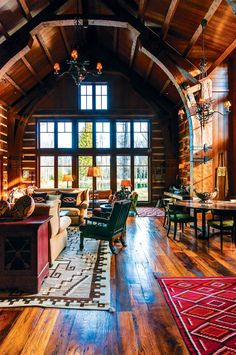 Barrel-vaulted great room with a view of the nearby pond in this home located in Jackson Hole, Wyoming. [700 × 1054] - Interior Design Ideas, Interior Decor and Designs, Home Design Inspiration, Room Design Ideas, Interior Decorating, Furniture And Accessories