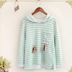 striped tassel pocket long sleeve saah Hooded pullover Sweatshirts women autumn mori girl