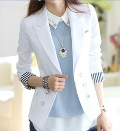 Stripe Tailored Collar Long Sleeves Polyester Ladylike Style Blazer For Women Mode Outfits, Office Outfits, Casual Outfits, Fashion Outfits, Womens Fashion, Blazer Fashion, Fashion Clothes, Work Fashion, Fashion Looks