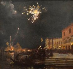 Fireworks, Venice - Gaston La Touche French, 1854 - 1913 Oil on canvas Bombing Of Guernica, Turner Painting, Cubist Movement, Summer Classes, Spanish Painters, Artwork Images, Post Impressionism, Paintings I Love, Gaston