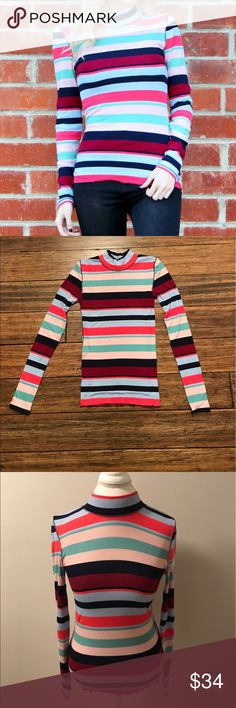 """Striped Mock Neck Top Colorful ribbed striped mock neck top. Very stretchy. 62% polyester, 33% rayon, 5% spandex. Small Approx. 23.5"""" long, 12.5"""" across bust, sleeves approx. 20"""" long. Medium Approx. 24.5"""" long, 13"""" across bust, sleeves approx. 19.5"""" long. Large Approx. 25"""" long, 14.75"""" across bust, sleeves approx. 20"""" long. Tops Tees - Long Sleeve"""