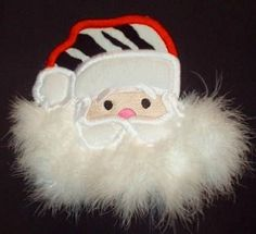 Santa with Ribbon Beard - 3 Sizes! | Christmas Applique Machine Embroidery Designs | Machine Embroidery Designs | SWAKembroidery.com