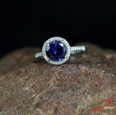 Blue Sapphire & Diamond Halo Engagement Ring Round 2ct 8mm 14k 18k White Yellow Rose Gold-Platinum-Custom made-Wedding-Anniversary Basket