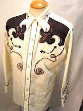 Superb Vintage H BAR C Ranchwear Embroidered Gabardine Western Shirt Sz 17