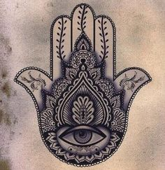 Sick design! Hamsa Tattoo - The hamsa is an ancient Middle Eastern amulet symbolizing the Hand of God. In all faiths it is a protective sign. It brings it's owner happiness, luck, health, and good fortune. by Sonia ʚϊɞ Nesbitt