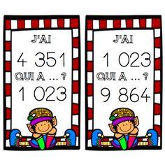 Les nombres de 0 à 9 999 Jeu de cartes Math Numbers, Cycle 3, Number Sense, Fractions, Reading, Board
