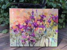 on a deep canvas. Pallet Painting, Diy Painting, Knife Painting, Abstract Flowers, Abstract Art, Thing 1, Paintings I Love, Blooming Flowers, Pictures To Paint