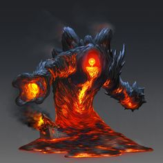 Lava Golem, Brian Valeza on ArtStation at https://www.artstation.com/artwork/lava-golem-06336f0e-295f-4e11-8965-8a88069e18fe