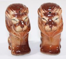 VINTAGE Japan Lion Salt and Pepper Shakers Cork Plugs Mid Century Regal