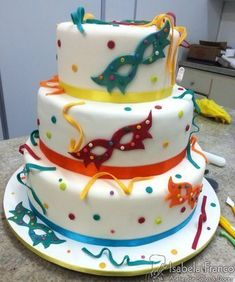 Carnival Cakes, Carnival Themed Party, Carnival Birthday Parties, Masquerade Cakes, Quick Cake, Mardi Gras Party, Colorful Cakes, Unique Cakes, Dessert