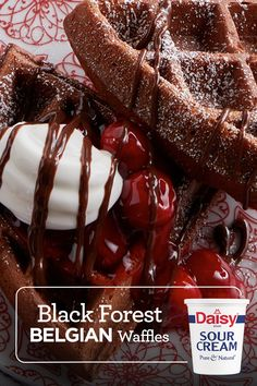 Dessert for breakfast? Breakfast for dessert? Have both! Making waffles with Daisy Sour Cream makes them extra fluffy and even more mouthwatering. Whisk Daisy into your favorite batter and you'll taste (and see) the Daisy difference! Brunch Recipes, Wine Recipes, Dessert Recipes, Cooking Recipes, Cat Recipes, Recipies, Breakfast Crepes, Breakfast Items, Breakfast Dishes