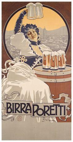 Vintage Italian Posters, Vintage Advertising Posters, Old Advertisements, Poster Vintage, Vintage Prints, Old Poster, Beer Poster, Poster Ads, Poster Prints