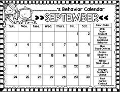Free Behavior Calendars for the entire school year