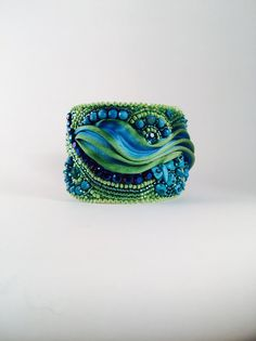 OOAK Shibori silk cuff seed beads jewellery by SarahDekkerDesigns