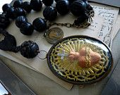 Antique Sacred Heart Reliquary Necklace, French Religious Relic for the Passionate, by RusticGypsyCreations