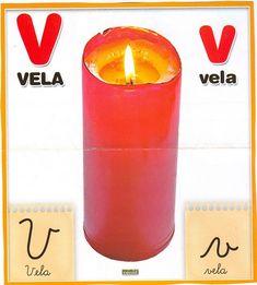 Material educativo para maestros: Abecedario con imagenes reales Pillar Candles, Blog, Initials, Index Cards, Lights, Activities, Illustrations, Candles