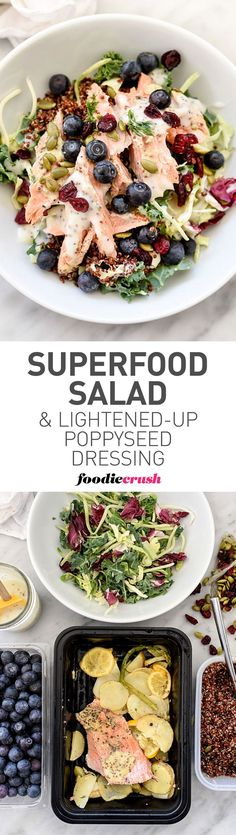 Superfood Salmon Salad + Lightened Up Poppy Seed Dressing #protein