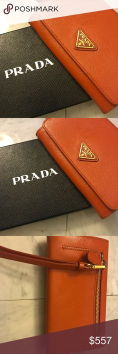 Prada Saffiano Textured Leather Wallet Wristlet Prada Orange Saffiano Textured Leather Wristlet Wallet Bag 1M1438  -Dimensions: 7 x 1.5 x 4.5 inches (length x width x height), -Removable wristlet strap. -Interior: open pocket, zip compartment, credit card slots x 5. -Snap closure. -Gold hardware. -Classic triangle Prada logo.  -Includes authenticity cards, control cards, and Prada box. -Made in Italy. Prada Bags Wallets