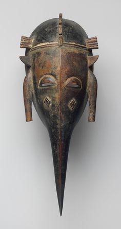 Face Mask (Kpeliye'e), 19th–mid-20th century. Côte d'Ivoire, Mali, or Burkina Faso; Senufo. Wood, pigment .