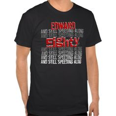 Funny 80th Birthday Speeding Along Black Red White T Shirt