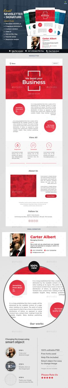 Buy Multi Purpose Newsletter + Signature Templates - HTML Files - 5 Colors by Hyov on GraphicRiver. Great looking newsletter and signature templates in 5 different colors. You will get the PSD files. Design can edited. Newsletter Design Templates, Email Newsletter Design, Email Design, Email Signature Templates, Board Game Design, Email Signatures, Beard Trimming, Video Site, Information Graphics