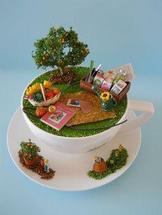 'GaRDeN HaRVeST'  TEaCuP Diorama  ____byLoveHarriet @ www.lilyanddot.com.au