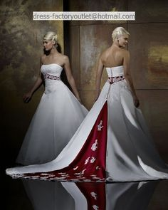 Satin Strapless A-line Gown with Split Back and Color Inset Style - Bridal Gowns - RainingBlossoms Colored Wedding Dresses, Cheap Wedding Dress, Bridal Dresses, Wedding Gowns, Bridesmaid Dresses, Lace Wedding, Dresses Uk, Prom Dresses, Occasion Dresses